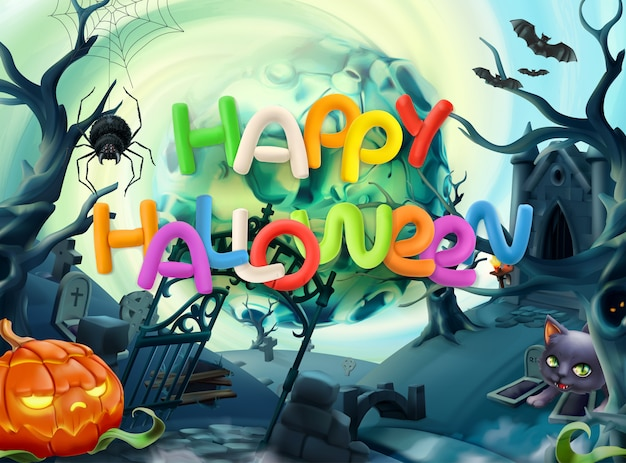 Cartão de feliz dia das bruxas com letras