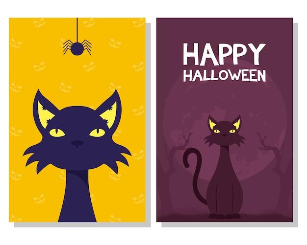 Cartão de feliz dia das bruxas com mascote de gatos pretos e ilustração vetorial de cena de aranha