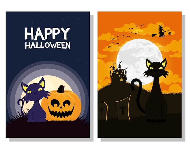 Cartão de feliz dia das bruxas com mascotes de gatos pretos e bruxa voando desenho de ilustração vetorial