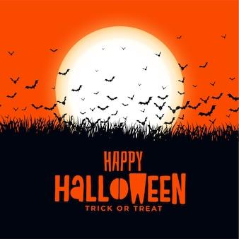 Cartão de feliz dia das bruxas com morcegos contra a lua
