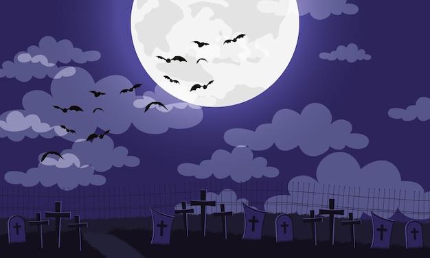 Cartão de feliz dia das bruxas com morcegos voando no design de ilustração vetorial de cemitério