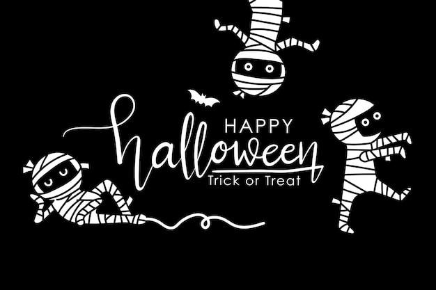 Cartão de feliz dia das bruxas com múmia assustadora