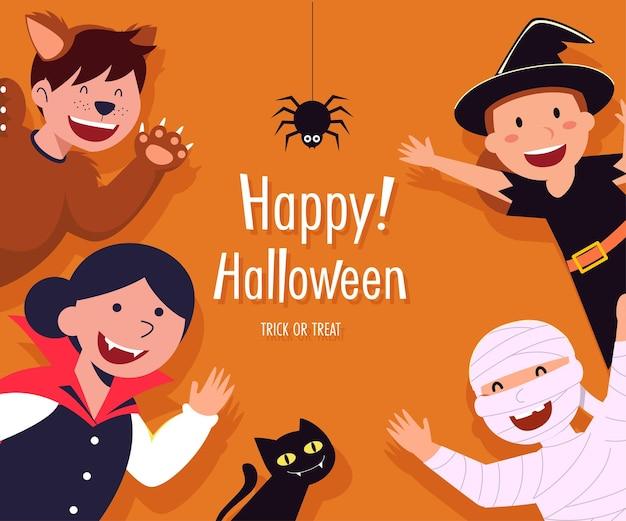 Cartão de feliz dia das bruxas com personagens