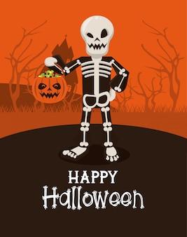 Cartão de feliz dia das bruxas com traje de esqueleto