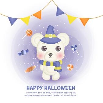 Cartão de feliz dia das bruxas com urso fofo e doces no estilo de aquarela.