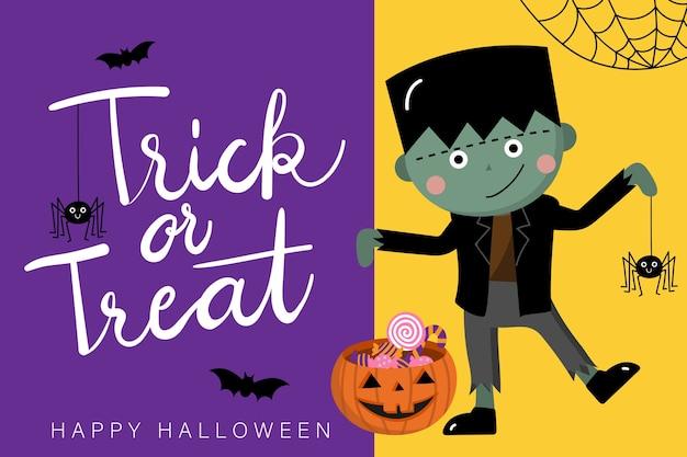 Cartão de feliz dia das bruxas com zumbi bonitinho e aranha