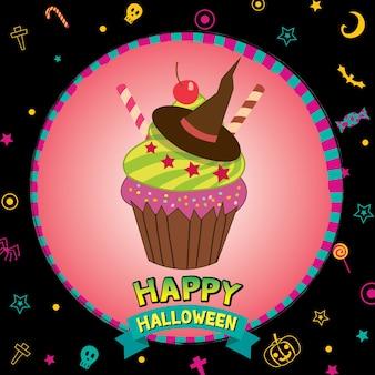 Cartão de feliz dia das bruxas desing com bolinho de bruxa.
