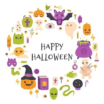 Cartão de feliz dia das bruxas. ilustração em vetor convite festa caldeirão de abóbora, morcego e bruxa de halloween outono. cartaz de símbolos de halloween fofo. halloween, abóbora de outono, bruxaria e feriado assustador