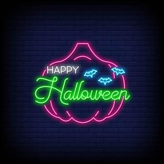 Cartão de feliz dia das bruxas néon