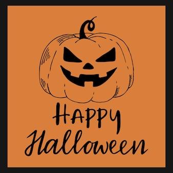 Cartão de feliz dia das bruxas ou banner. abóbora desenhada à mão e elemento de letras