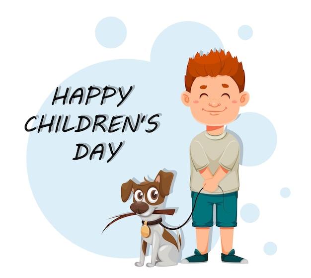 Cartão de feliz dia das crianças com o menino bonito e o cachorro dele