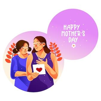 Cartão de feliz dia das mães com a mãe e sua filha adolescente