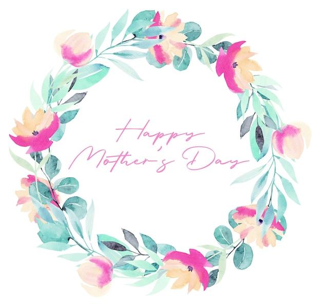 Cartão de feliz dia das mães com coroa de plantas em aquarela, flores cor de rosa, folhagens e flores silvestres