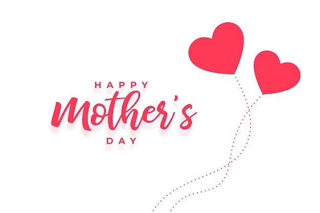 Cartão de feliz dia das mães com dois corações