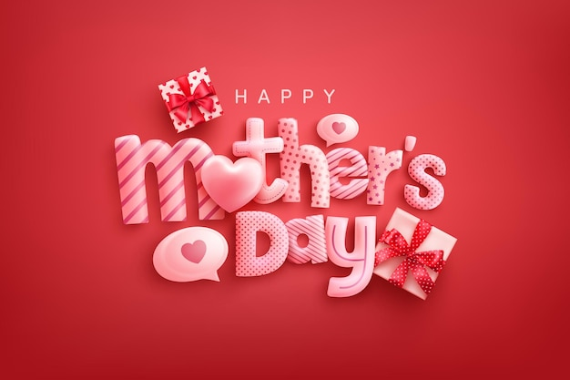 Cartão de feliz dia das mães com fonte fofa, corações doces e caixas de presente em fundo vermelho