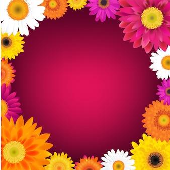 Cartão de feliz dia das mães com gerbers com ilustração de malha gradiente Vetor Premium