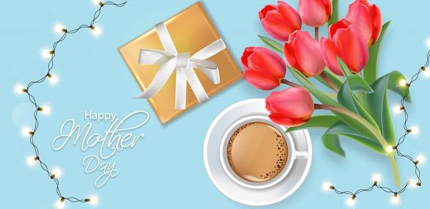 Cartão de feliz dia das mães com guirlanda de luzes