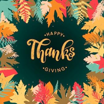 Cartão de 'feliz dia de ação de graças', cartaz, banner