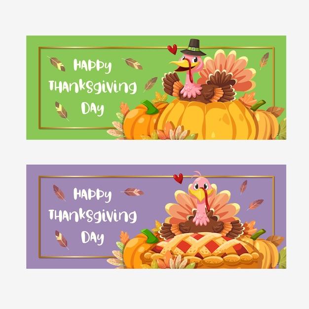 Cartão de feliz dia de ação de graças com a turquia
