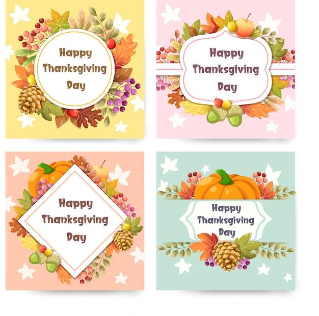 Cartão de feliz dia de ação de graças com abóbora