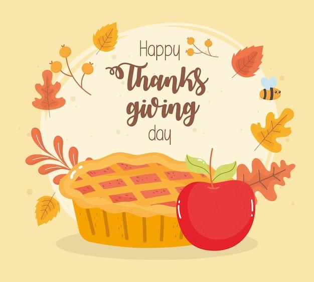 Cartão de feliz dia de ação de graças com bolo de abóbora e folhas de outono
