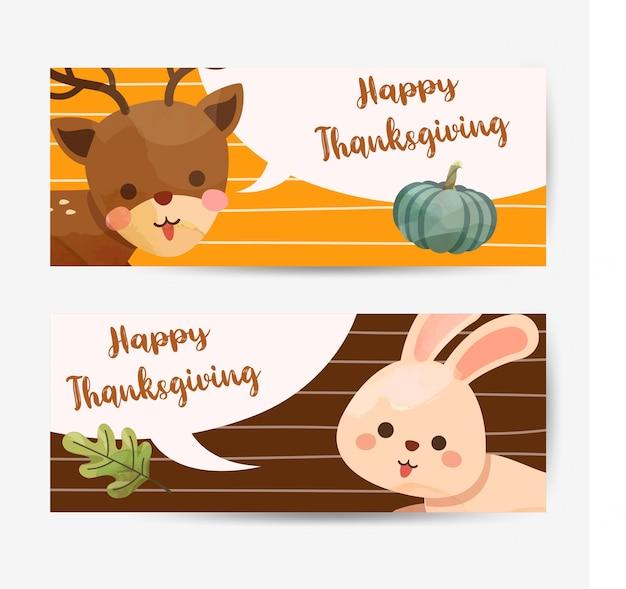 Cartão de feliz dia de ação de graças com coelho, veado, abóbora e folhas.