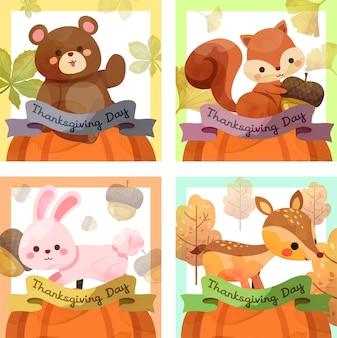 Cartão de feliz dia de ação de graças com esquilo, urso, coelho e veado.