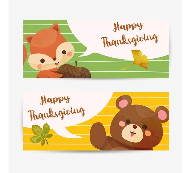 Cartão de feliz dia de ação de graças com esquilo, urso e folhas.