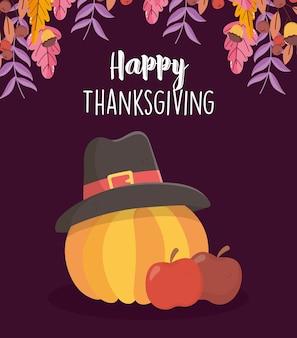 Cartão de feliz dia de ação de graças com maçãs e abóbora com chapéu de peregrino