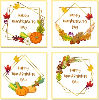 Cartão de feliz dia de ação de graças com milho, maçã e folhas de bordo