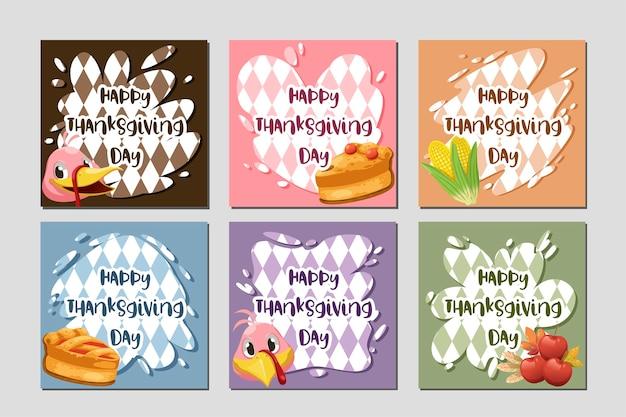 Cartão de feliz dia de ação de graças com peru, abóbora e torta.