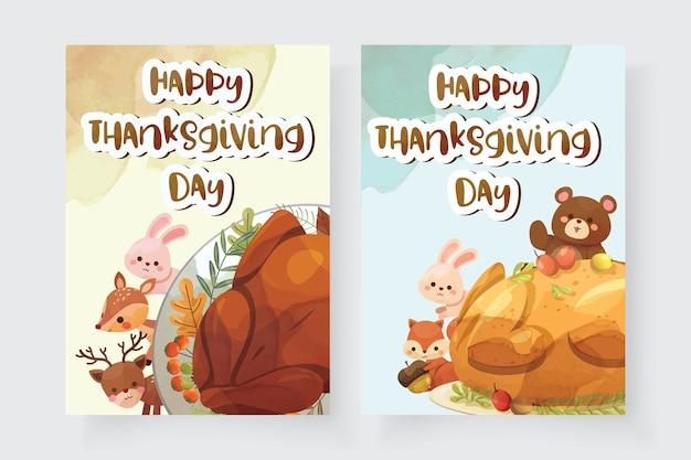 Cartão de feliz dia de ação de graças com peru, esquilo, urso, coelho e veado
