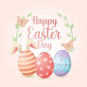 Cartão de feliz dia de páscoa com ovos e coelhos
