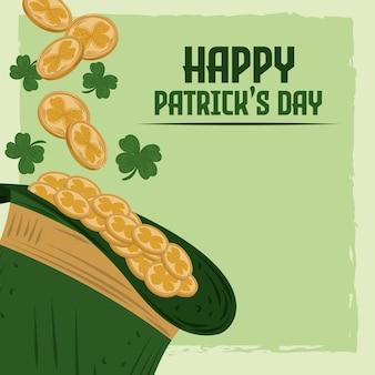 Cartão de feliz dia de patrick com chapéu de duende, moedas e trevos