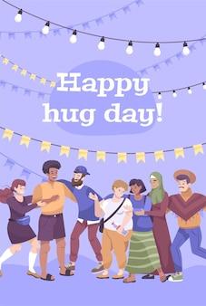 Cartão de feliz dia do abraço