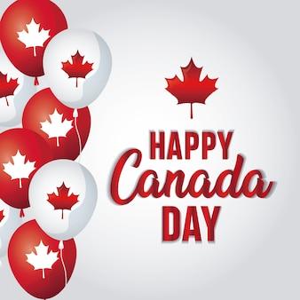 Cartão de feliz dia do canadá com balões de hélio