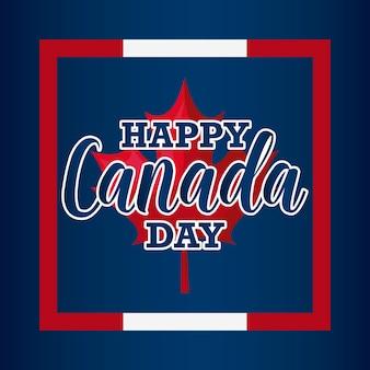 Cartão de feliz dia do canadá com folha de bordo no quadro