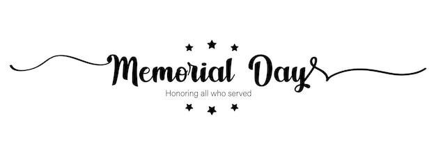 Cartão de feliz dia do memorial. cartaz de letras com texto feliz dia do memorial. feriado nacional americano. cartão do dia do memorial dos eua. ilustração. vetor eps 10