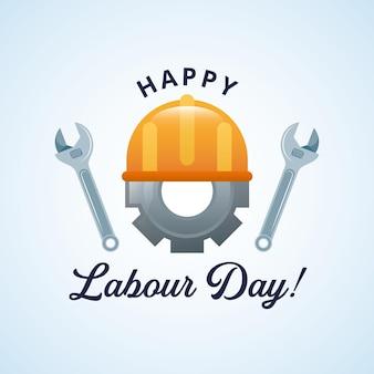 Cartão de feliz dia do trabalho com ferramentas de construção de desenhos animados