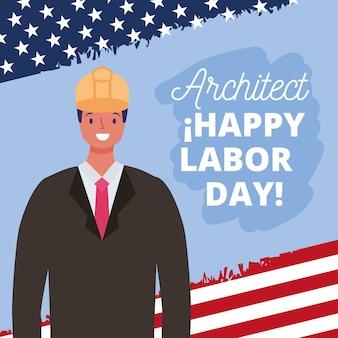 Cartão de feliz dia do trabalho com ilustração dos desenhos animados do arquiteto