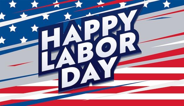 Cartão de feliz dia do trabalho com letras e bandeira dos eua