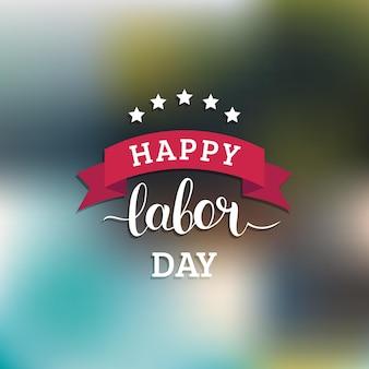 Cartão de feliz dia do trabalho de vetor. ilustração de feriado nacional dos eua com fita e estrelas. cartaz festivo ou banner com letras de mão.