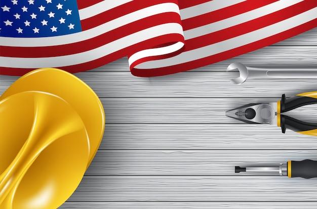 Cartão de feliz dia do trabalho de vetor. ilustração do feriado americano nacional com bandeira eua