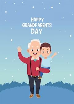 Cartão de feliz dia dos avós com avô e neto