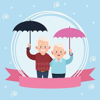 Cartão de feliz dia dos avós com ilustração de casal de idosos levantando guarda-chuvas