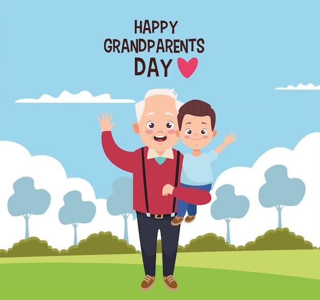 Cartão de feliz dia dos avós com ilustração do avô e do neto