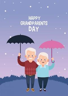 Cartão de feliz dia dos avós com um casal de idosos levantando guarda-chuvas