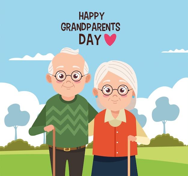 Cartão de feliz dia dos avós com um casal de idosos no acampamento