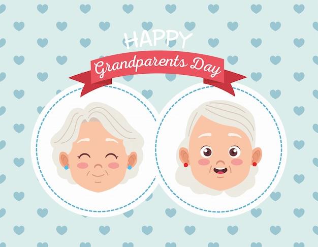 Cartão de feliz dia dos avós com um casal de idosos