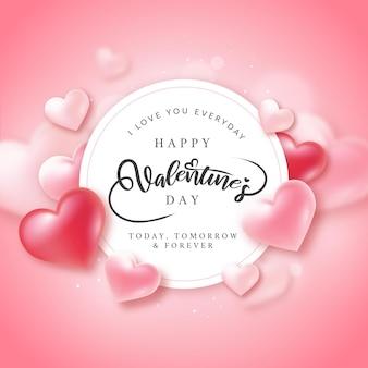 Cartão de feliz dia dos namorados com corações dos namorados e letras em rosa suave